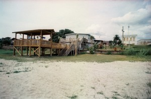 Dan B's deck and restaurant as viewed from the water's edge the day before Katrina made landfall (Aug. 28, 2005).