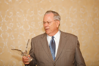 Toby Brigham accepted the Crystal Eagle Award on Jan. 28.