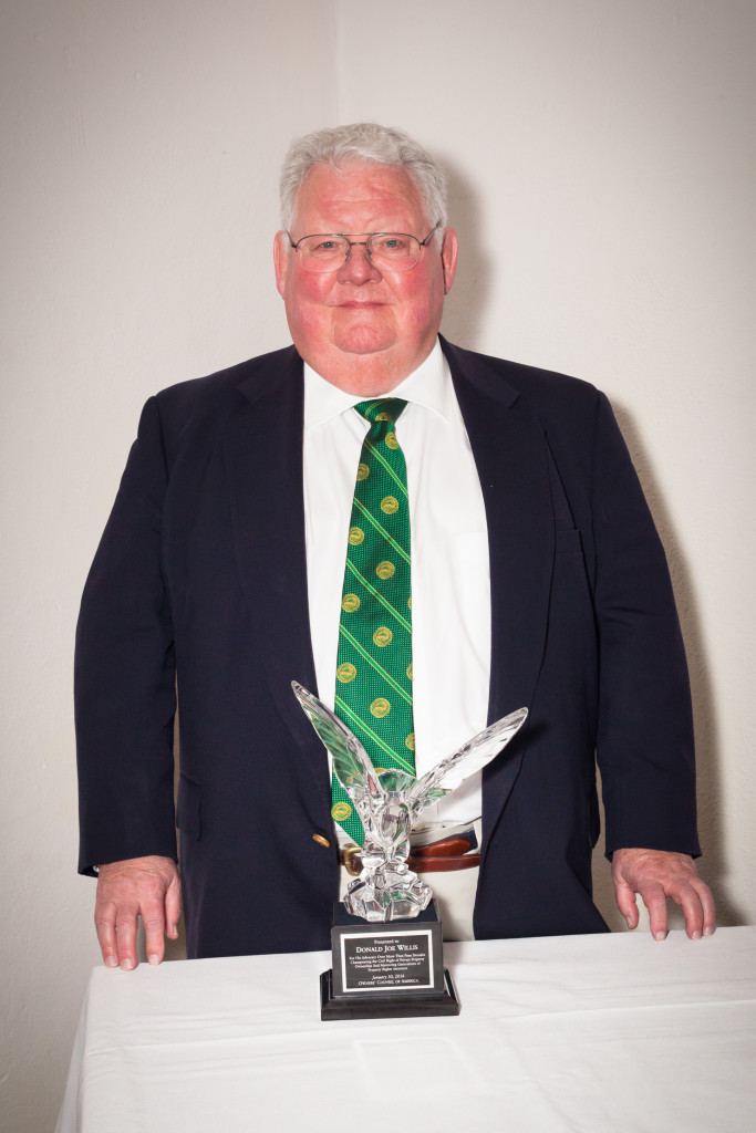 Oregon property rights attorney Donald Joe Willis with the Crystal Eagle Award